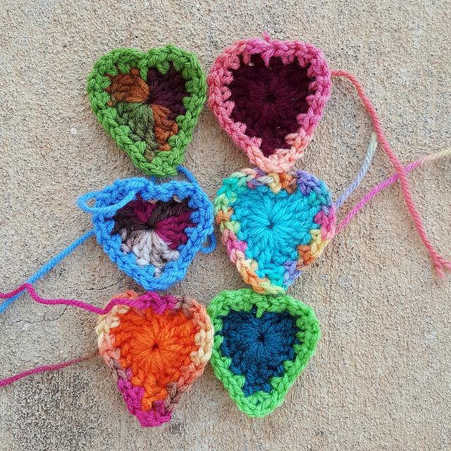 six boho crochet hearts
