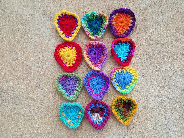twelve crochet hearts