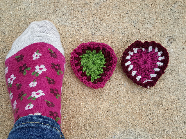 crochet hearts with coordinating socks
