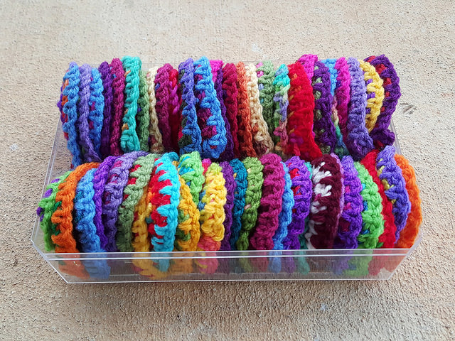 box of boho crochet hearts
