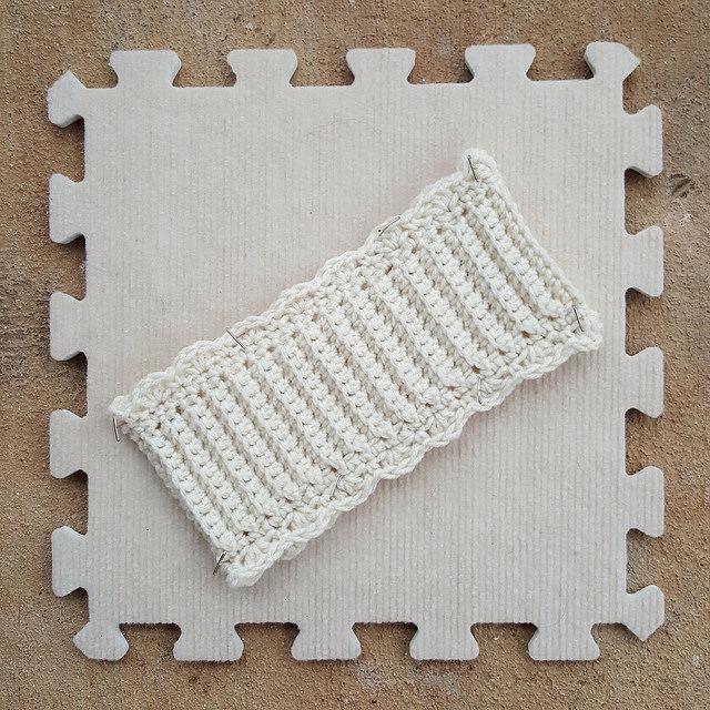 blocking a crochet ear warmer