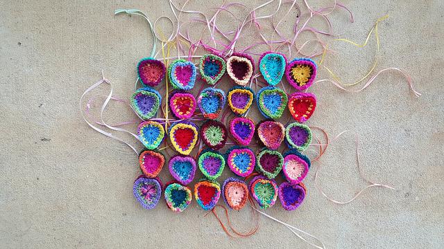 crochet heart medallions