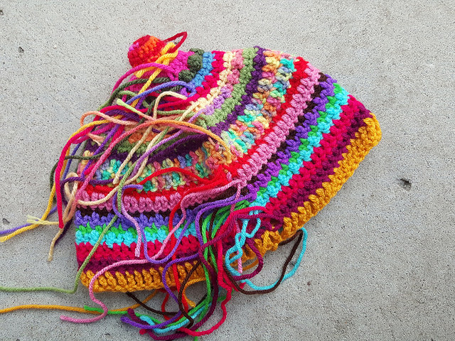ends to be woven in crochet alpine hat