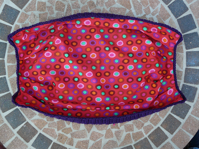 fabric lined crochet bag