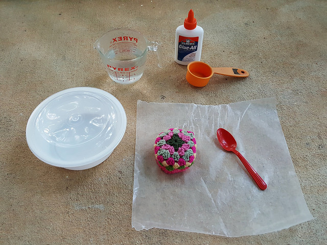 glue for a crochet basket