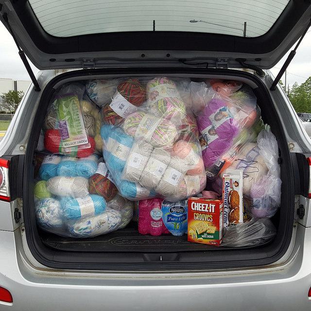 yarn laden SUV