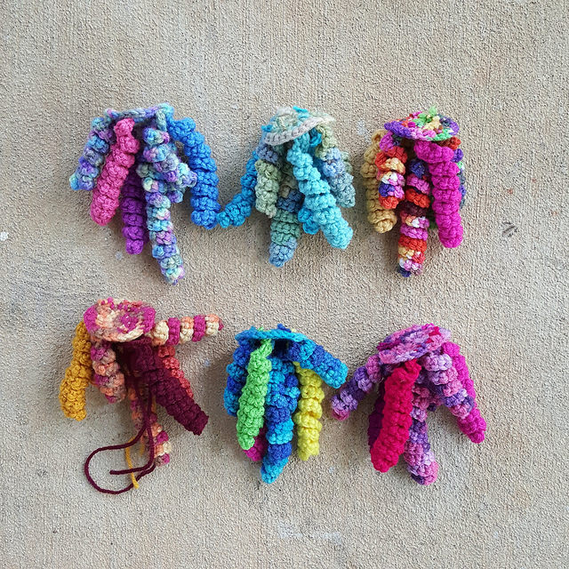 six crochet jellyfish bases
