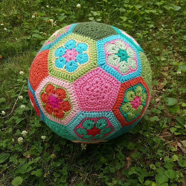 crochet soccer ball on the lawn
