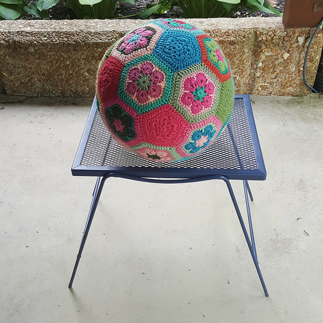 crochet soccer ball on a table