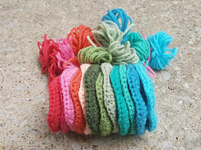 crochet pentagon motifs for a crochet soccer ball