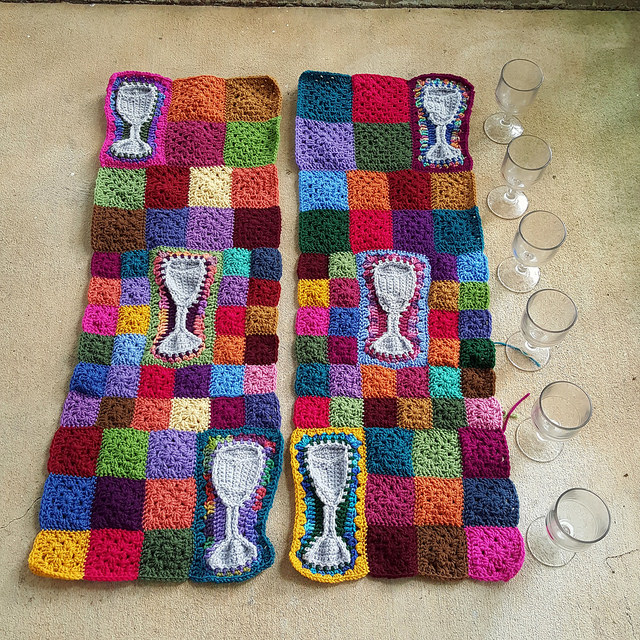 granny squares water tumbler crochet motif