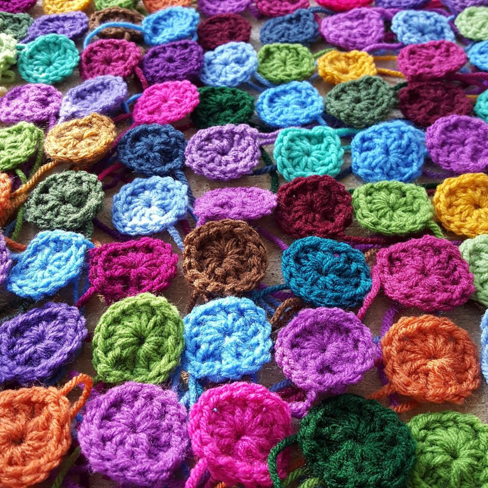 Detail of crochet granny squares