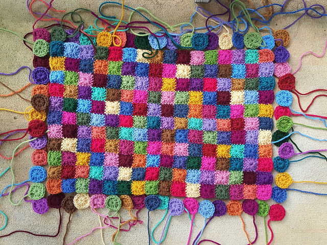 granny squares for the clock panel