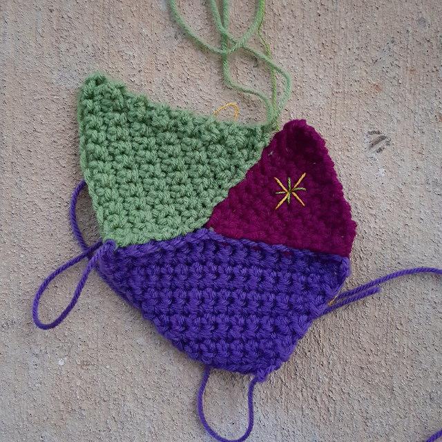 embroidered crochet crazy quilt piece