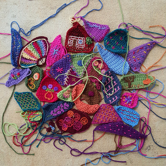 crochet crazy quilt pieces with embroidery