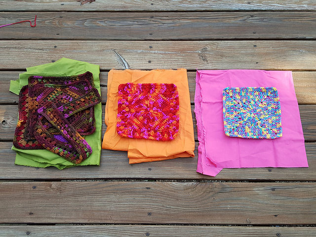 crochet purse linings with coordinating granny squares
