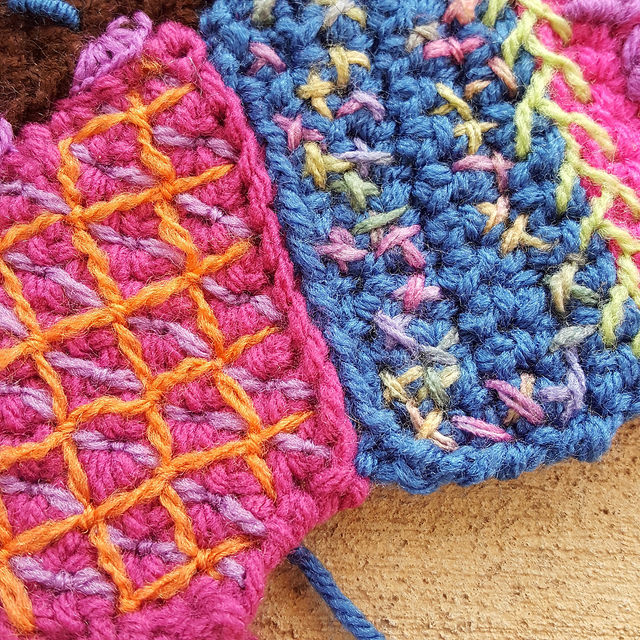 A seam of two crochet pieces in need of decorative embroidery