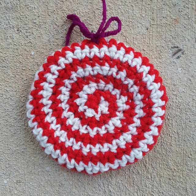 Peppermint swirl crochet cookie