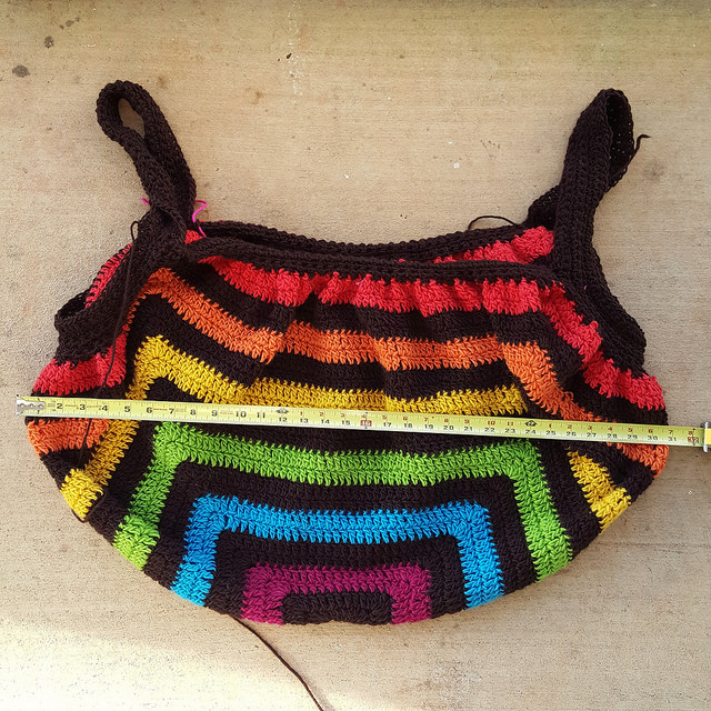 Wool crochet granny square before felting