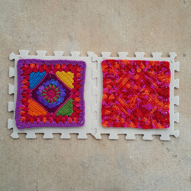 Two crochet granny squares drying