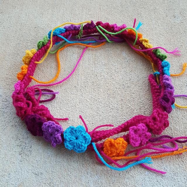 a crochet flower festooned purse strap, crochetbug, five petal crochet flowers, crochetbug, crochet purse, crochet tote, granny square purse, rainbow is a color