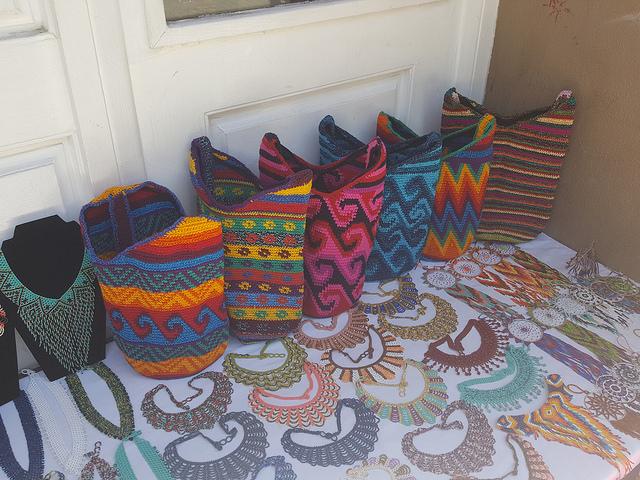 crochetbug, crochet bag, crochet tote, santa fe plaza, santa fe, new mexico