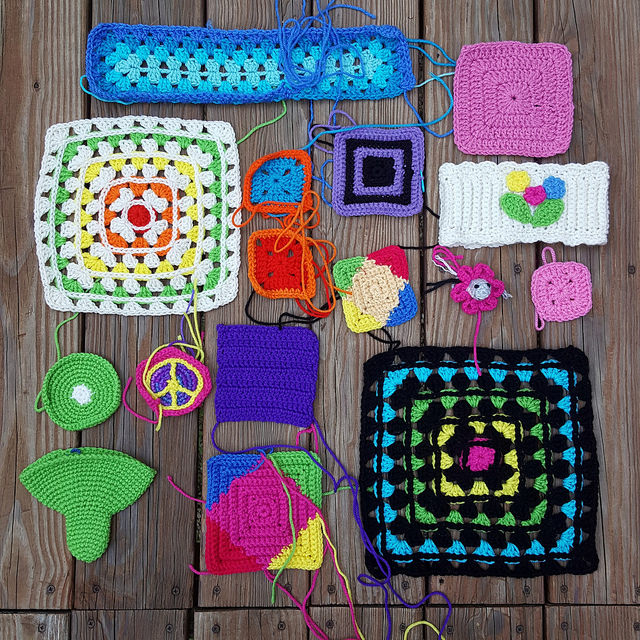 crochetbug, crochet, granny square, crochet ham, amigurumi ham, textured crochet square, ear warmer, crochet rectangle, granny squares, crochet squares