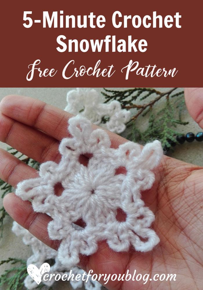 5 Minute Crochet Snowflake Free Crochet Pattern Crochet For You