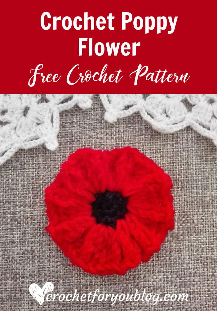 Crochet Poppy Flower Free Crochet Pattern