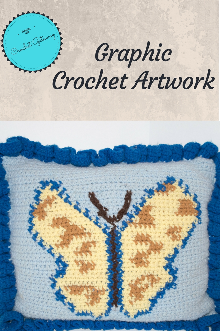 Butterfly Pillow-Graphed Crochet Artwork