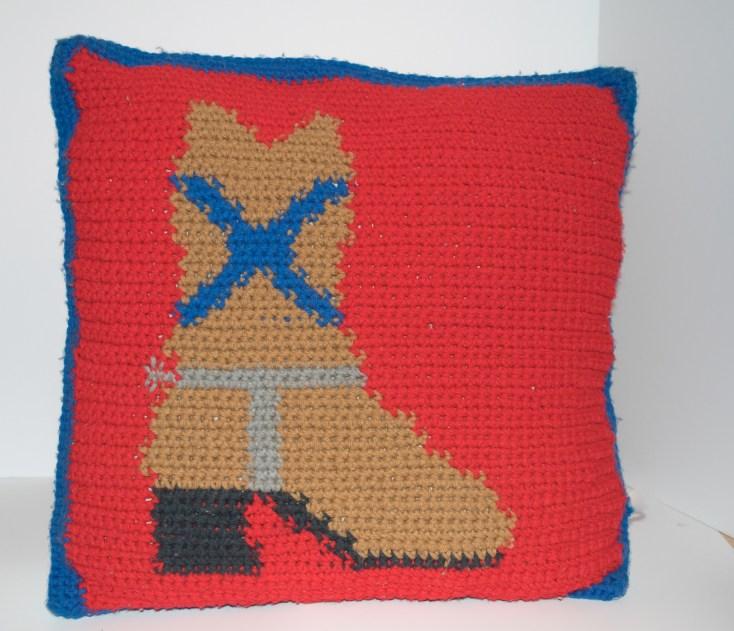 Western Boot Crocheted Pillow