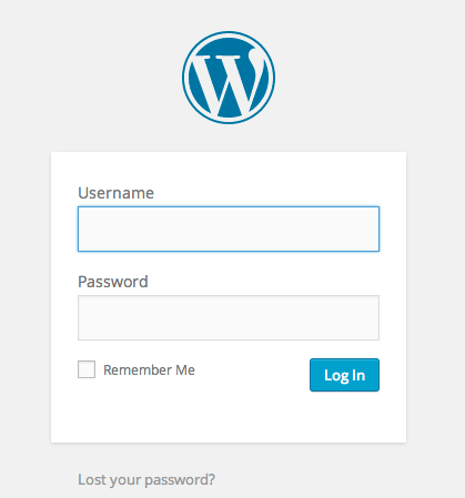 Wordpress Login Screen for Blog