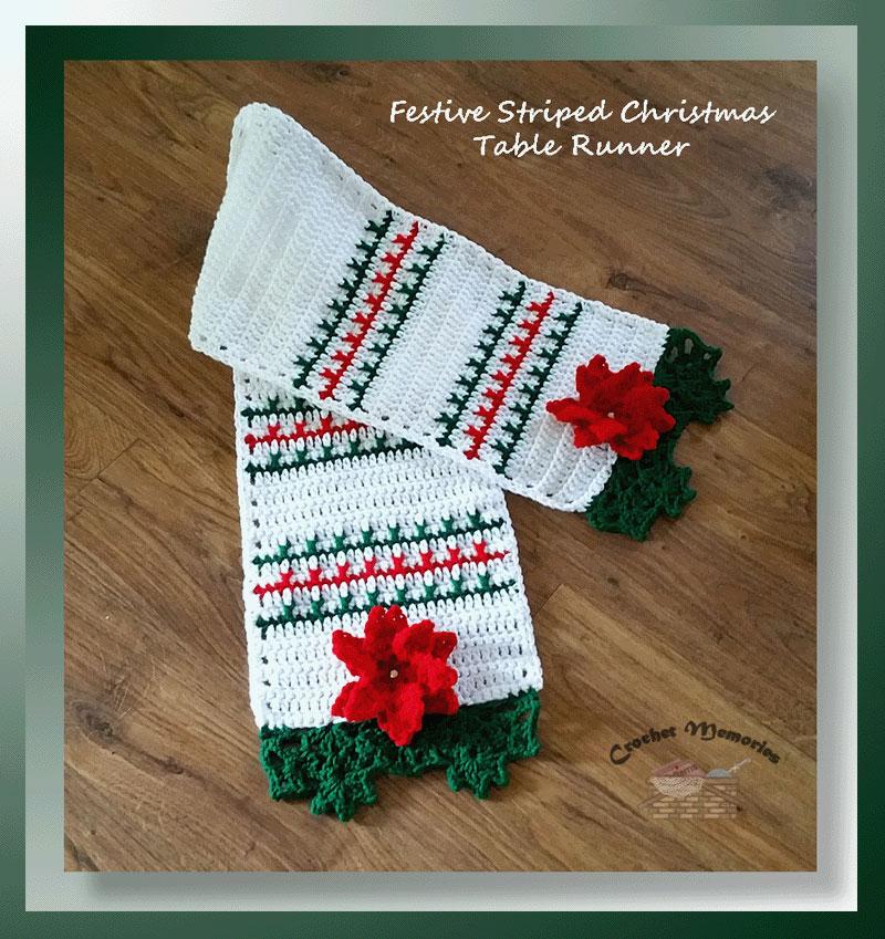 Festive Striped Christmas Table Runner Free Crochet