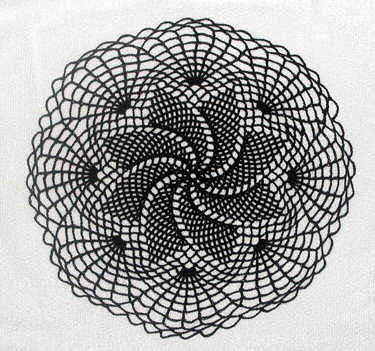 Midnight Spiraled Web Doily
