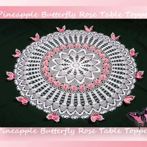 Pineapple Butterfly Rose Table Topper
