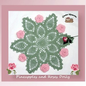 Pineapples and Roses Doily
