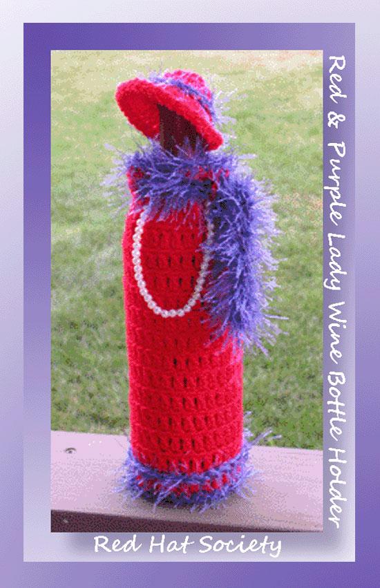 Red Purple Lady Wine Bottle Holder 435 Crochet Memories