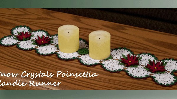 Snow Crystals Poinsettia Candle Runner