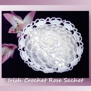 Irish Crochet Rose Sachet