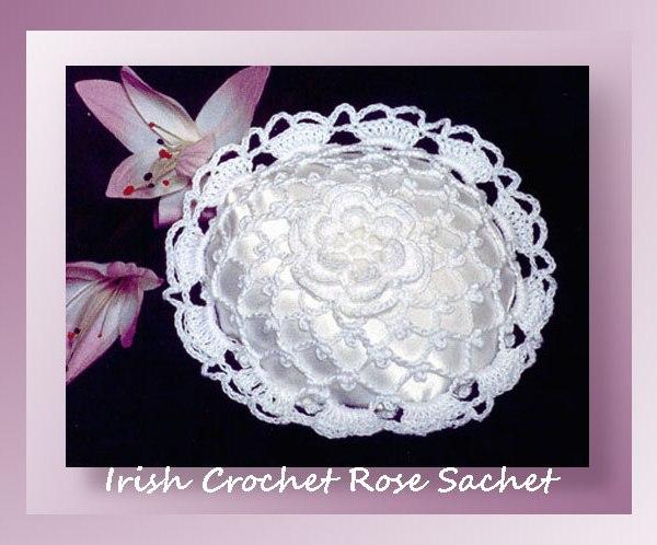 Irish Crochet Rose Sachet