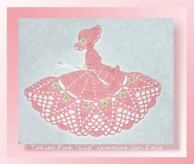 Tickled Pink Lily Crinoline Girl Doily Crochet