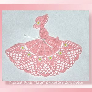 "Tickled Pink ""Lily"" Crinoline Girl Doily"