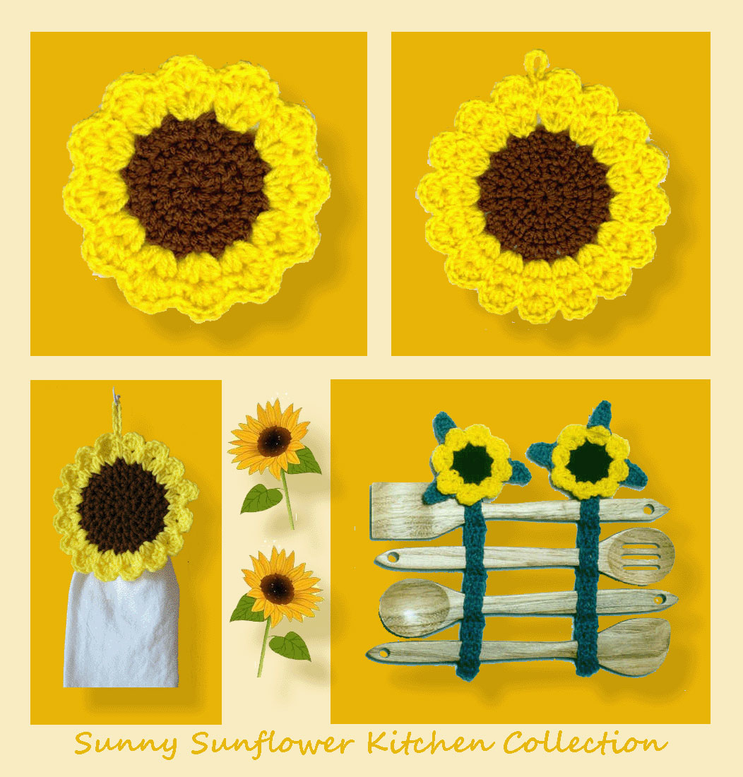 Sunny Sunflower Kitchen Collection Crochet Patterns
