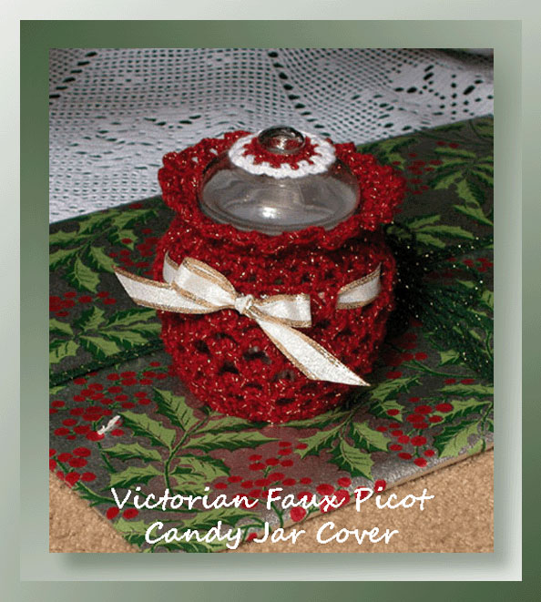 victorian faux picot candy jar cover 3 40 crochet memories