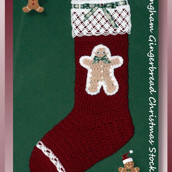 Gingham Gingerbread Christmas Stocking
