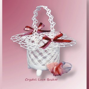 Crystal Lace Basket - Crochet pattern for a spider web stitched thread basket