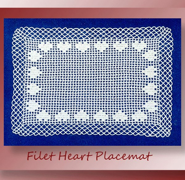 Crochet pattern for a thread filet placemat depicting a border of hearts and chain edging