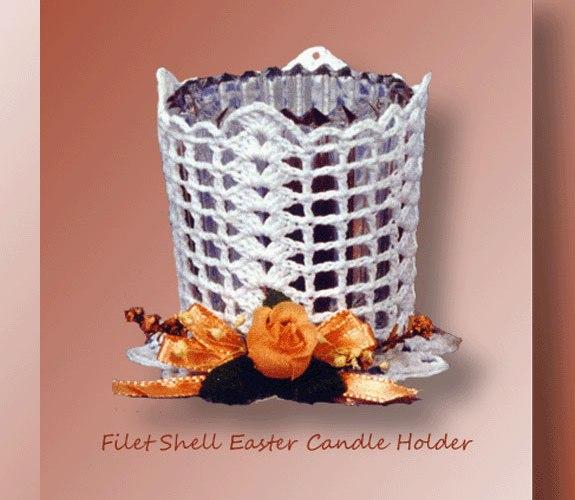 Filet Shell Easter Candle Holder<br /><br /><font color=
