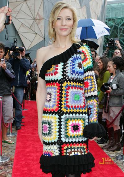 cate blanchett in crochet dress