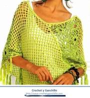 Poncho a crochet para mujer. Poncho moderno, original